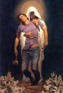 Modern-Jesus holding a defeated man up