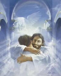 Modern-Jesus hugging man in heaven & smiling