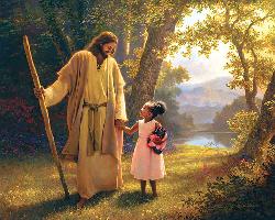 Modern-Jesus walking with girl