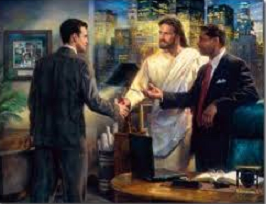 Modern-Jesus with businessman
