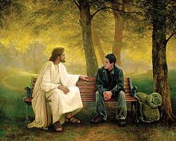 Modern-Jesus with man in park