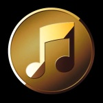 Button-gold musical note