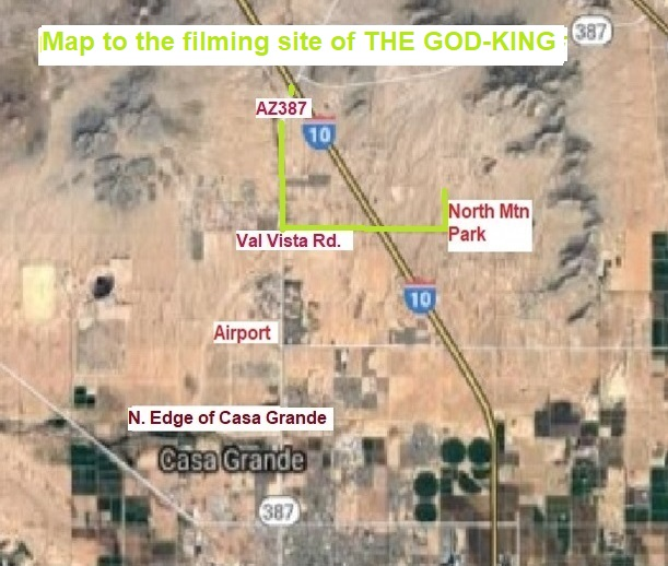 Map to filming site of THE GOD-KING